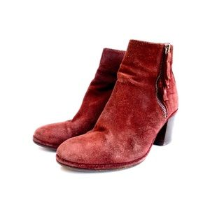 Opening Ceremony Burgundy Suede Ankle Boots